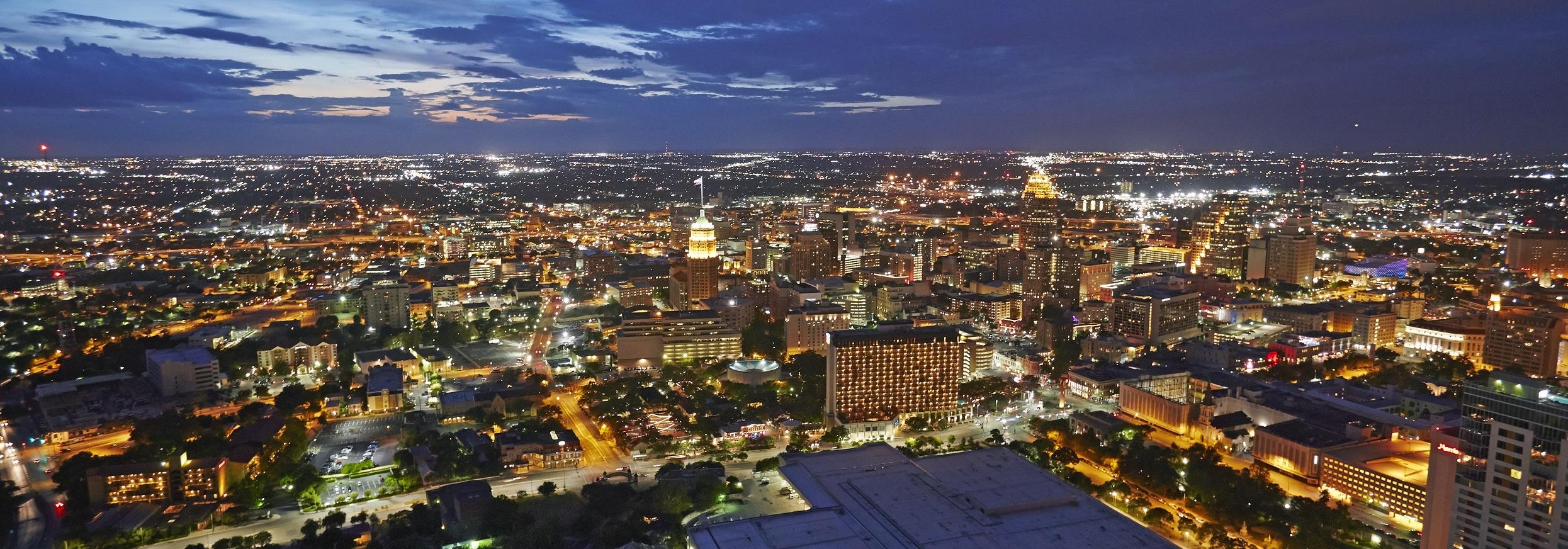 Elevated cityscape of dowtown San Antonio